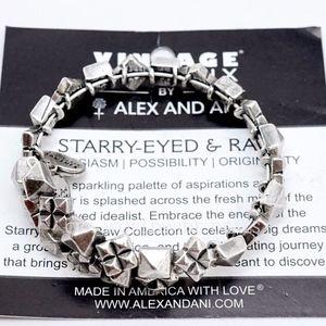 Alex And Ani Silver Stud Struck Wrap Bangle
